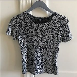 Black and Silver Lace Crop Top